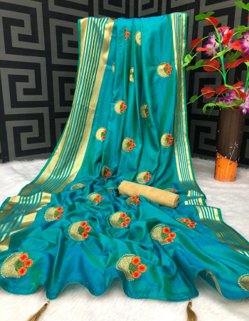 sky blue sana silk fabric heavy embroidery work casual