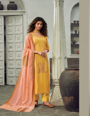 yellow top - pure cotton silk with fancy embroidery | dupatta - pure weavers jacquard dupatta | bottom - pure cotton fabric embroidery work casual