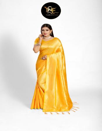 yellow tanchoi silk fabric jacquard + weaving work casual