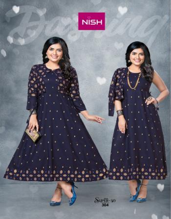 navy blue rayon gold print with kurti koti fabric gold print work casual
