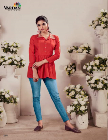 red 14kg rayon short top with designer style  fabric embroidery work casual