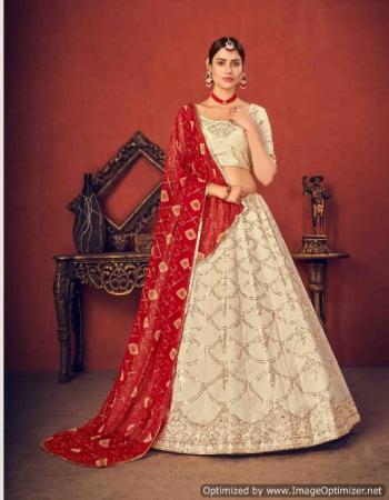 white lehenga - art silk - length - 42 inch | choli - art silk - length - 1 m | dupatta - net - cotton - georgette - length - 2.30 m | size - semi stitched - upto 42 bust and waist  fabric thread + sequance + embroidery work casual