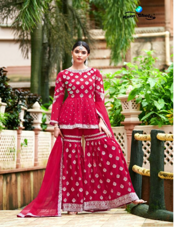 pink blooming georgette fabric embroidery work casual