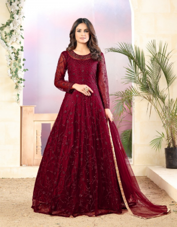 maroon top - net with heavy tone to tone thread & sequance work | bottom - santool | dupatta - net fabric thread work + embroidery work casual