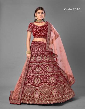 maroon blouse - velvet | lehenga - velvet | dupatta - soft net | size - semi - stitched - upto 42 inches bust & waist  fabric dori + zari + latkan work casual