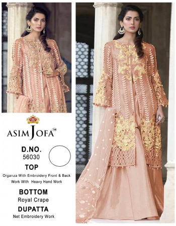 baby pink top - oragnza with embroidery work fornt & back work with heavy hand work | bottom - royal crepe | dupatta - net embroidery work [ pakistani copy ] fabric embroidery work casual