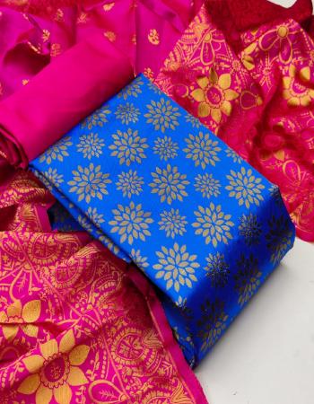 blue top - banarasi silk ( 2 m) 50 panna | bottom - heavy silk ( 2 m) 56 panna | dupatta - jacquard weaving ( 2.30m) 24 panna fabric jacquard work ethnic
