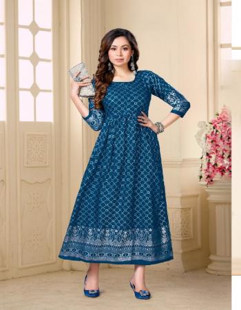 rama blue rayon fabric printed work casual