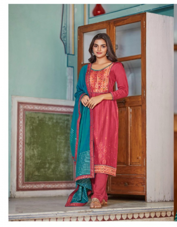 pink top - parampara silk 2mm sequance work with meenakari jacquard neck & lace | bottom - parampara silk | dupatta - pure modal 2mm sequance lining with four side work fabric sequance work + meena kari work party wear