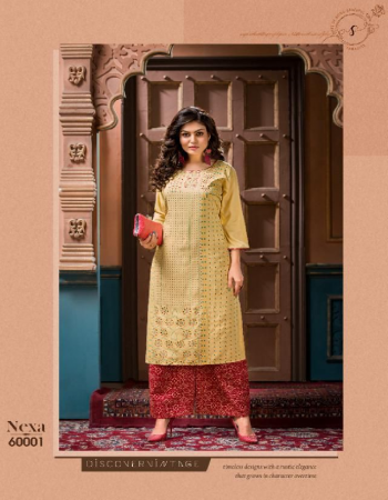 yellow rayon 14 kg top with embroidery work with stitching pattern with rayon screen printed plazzo | top length - 45 minimum | plazo length - 40 minimum fabric embroidery work casual