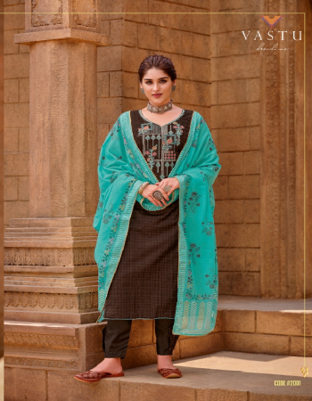 brown top - satin cotton print with exclusive work ( 2.50 m) | bottom - soft cotton dyed ( 2.75 m) | dupatta - exclusive print cotton dupatta with foil print and four side piping lace ( 2.50m) fabric exclusive work work casual