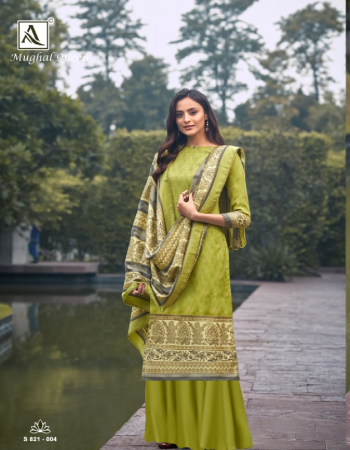 parrot green top - pure wool pashmina designer print with gold print touch | bottom - pure wool pashmina soild | dupatta - pure wool pashmina designer gold print dup with four side lace  fabric printed  work festive