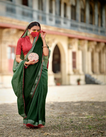 dark green linen silk with sequance croatina lace and rich blouse and fancy mask  fabric sequance work work casual