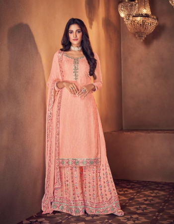 peach dn - 124 & 125 - top - real georgette with dull santoon inner | plazzo - real georgette with dull santoon inner ( free size stitched ) | dupatta - chinnon | dn - 126 & 127 top - real georgette with dual santoon inner | skirt - real georgette with dull santoon inner ( free size stitched ) | dupatta - chinnon fabric embroidery work casual