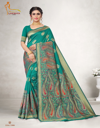 rama blue jacquard silk fabric jacquard + weaving work festive