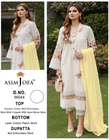 white top - pure heavy quality material cambric cotton self embroidery work with cutwork with hand work mirror work | bottom - pure heavy cotton lawn patch work | dupatta - pure heavy quality material heavy net embroidery work [ pakistani copy ] fabric self embroidery work party wear