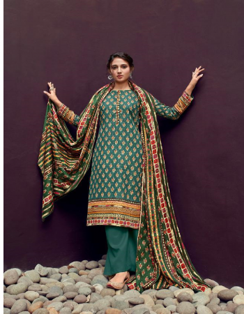 rama green top - heavy pashmina exclusive print ( sabyasachi style ) | bottom - pashmina twil | dupatta - pashmina shawl print fabric printed  work casual