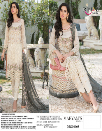 white top - fox georgette with heavy embroidery & diamond work | bottom / inner - heavy dul shantun | dupatta - nazmin with heavy embroidery [ paksitani copy ] fabric heavy embroidery work casual