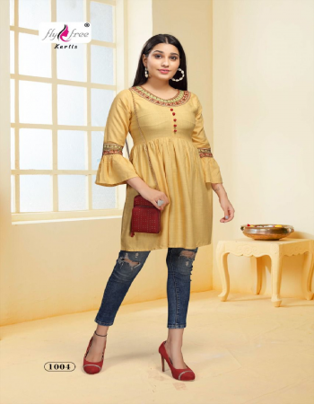 yellow heavy rayon length - 32  fabric embroidery work casual