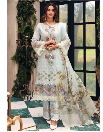 sky blue top - pure cotton with exclusive self embroidery | bottom / inner - semi lawn | dupatta - tubby silk digital print [ pakistani copy ] fabric heavy embroidery work casual