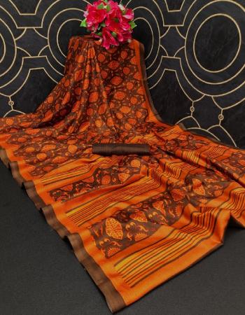brown khadi silk fabric printed work casual