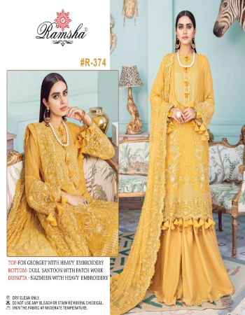 yellow top - georgette / net with heavy embroidery | bottom - dull santoon | dupatta - nazmeen / net embroidery work [ pakistani copy ] fabric heavy embroidery work ethnic