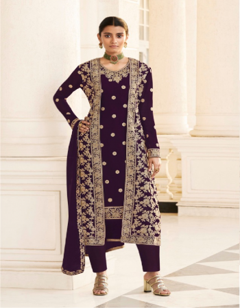 wine top - heavy faux georgette with coding embroidery work +daimond | top inner - heavy dull santoon | top length - max up to 44 size - customize up to 56 | jacket - heavy faux georgette with heavy codding embroidery work +daimond | jacket back side - full work | bottom - heavy dull santoon ( 2.20 m) | dupatta - heavy faux georgette with daimond + heavy coding embroidery work less patta ( 2.10 m) [ master copy ] fabric embroidery work casual
