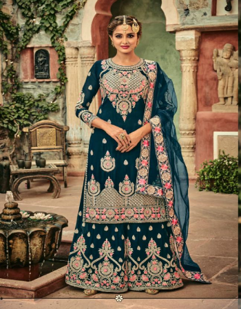 rama blue top - heavy blooming georgette with heavy exclusive embroidery with fancy diamond | dupatta - butterfly net with 4 side heavy embroidery lace & diamond work | bottom ( plazo ) - blooming georgette with heavy embroidery and diamond work | inner - dull santoon  fabric heavy embroidery work festive