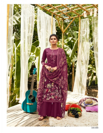 wine top - 100% pure jam cotton digital print with heavy fancy embroidery work ( 2.50m) | dupatta - pure nazneen dupatta with 4 side lace ( 2.30m) | bottom - pure cotton salwar ( 3 m approx) fabric digital print work casual