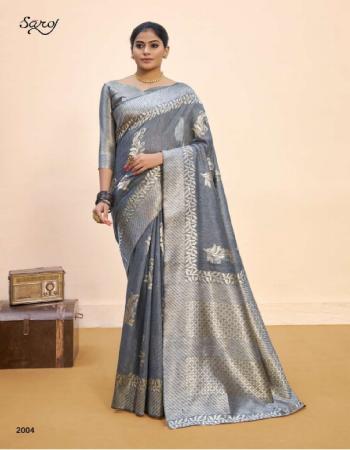 grey linen cotton silk with weaving butta and pallu | blouse - silk with border fabric weaving butta  work casual