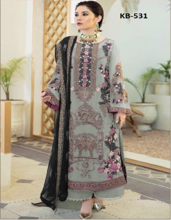 grey top - heavy fox georgette with embroidery with sequance + stone | bottom - santoon | inner - santoon | dupatta - heavy nazneen with embroidery work with sequance work [ master copy ] fabric embroidery + sequance work ethnic