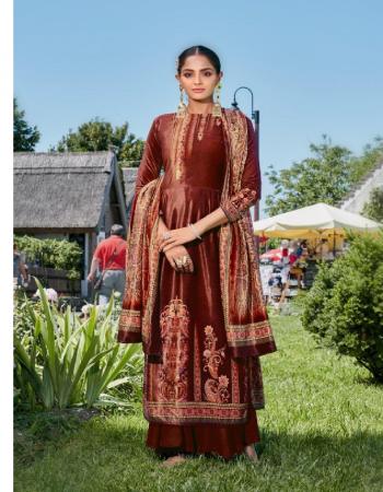 brown top - pure 9000 velvet with designer digital print | bottom - pure viscose silk |dupatta - pure 9000 velevet digital print dupatta  fabric digital print work festive