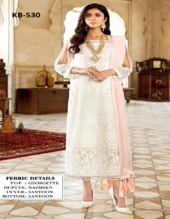 baby pink top - heavy fox georgette with embroidery work with sequance work | bottom - santoon | inner  - santoon | dupatta - heavy nazneen with embroidery sequance work [ master copy ] fabric embroidery work casual