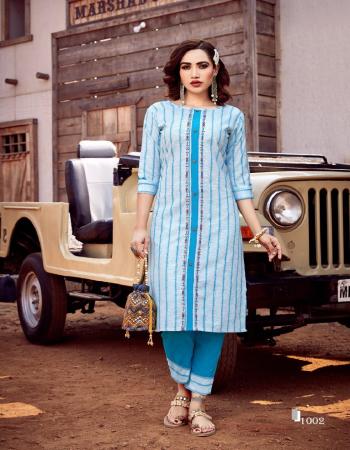 sky blue top - 100% cotton & linen handloom with kalimudi hand work | bottom - cotton slub dobby  fabric hand work work casual