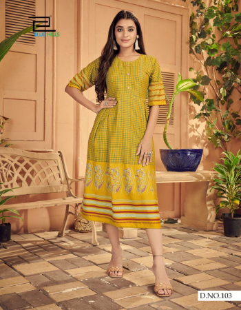 yellow rayon | length - 45 fabric print  work party wear