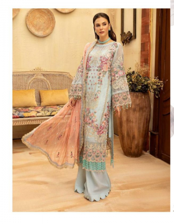 sky blue top - faux georgette with heavy embroidery with hand work | bottom - santoon | dupatta - butterfly net with heavy embrodiery and four side lace [ paksitani copy ] fabric heavy embroidery work casual