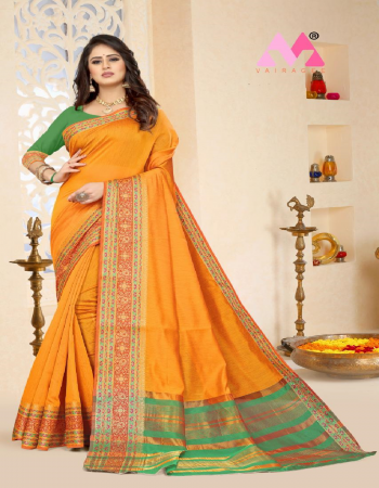 orange cotton fabric jacquard + weaving work casual