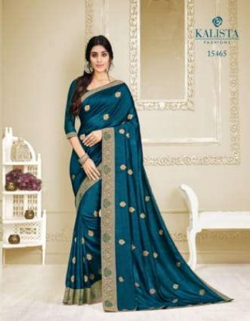 rama blue vichitra silk fabric embroidery  work casual