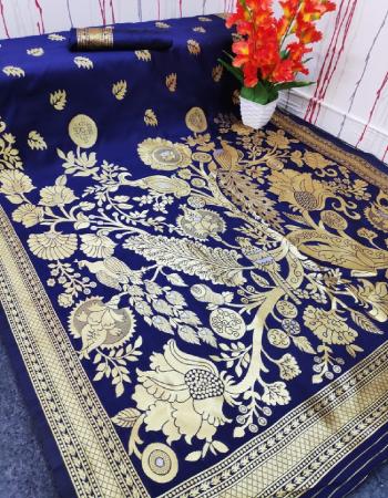 royal blue silk fabric jacquard + weaving work party wear