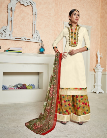 white top - pure jam sateen embroidered with hand work nek | bottom - rayon 14kg print with lace plazzo stitch rediment | dupatta - chiffon digital print [ paksitani copy ] fabric embroidery  work casual