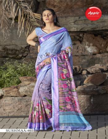 purple linen satin fabric printed work casual