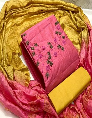 pink top - modal chanderi silk ( 1.9 m )   inner - santoon ( 1.6 m)   bottom - santoon ( 2 m)   dupatta - cotton silk zari checks ( 2.10m) fabric handwork work casual