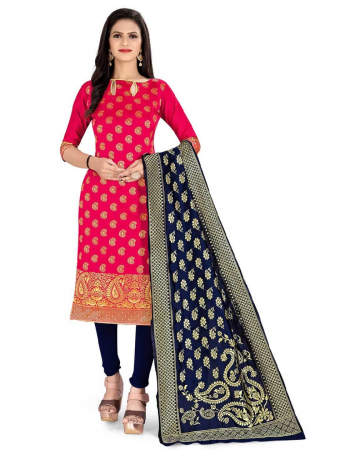 red top - banarasi silk ( 2.0 m)   bottom - heavy silk ( 2 m)   dupatta - jacquard weaving ( 2.30 m) fabric jacquard + weaving work casual