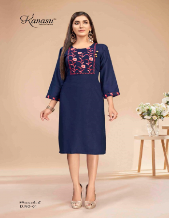 navy blue rayon | length - 42 fabric embroidery work casual