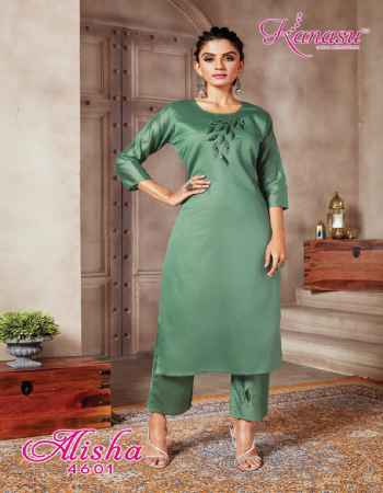green top - daible silk | bottom - daible silk with pockets  fabric embroidery work party wear