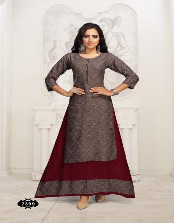 brown rayon  fabric printed  work casual