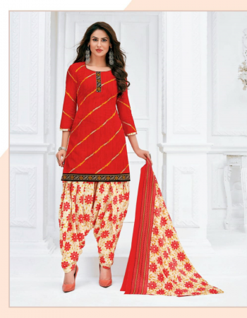red cotton fabric printed  work casual