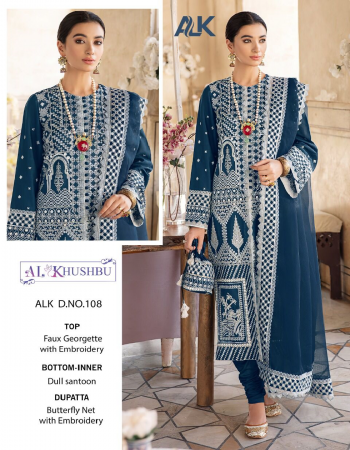rama blue top - georgette with heavy embroidery   bottom / inner - santoon   dupatta - nazmin heavy embroidered [ pakistani copy ] fabric embroidery work casual