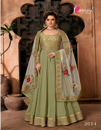 pastal green top ( gown ) - heavy blooming georgette with heavy embroidery work with diamond   inner - heavy dull santoon   dupatta - heavy butterfly net with heavy embroidery work with diamond   pant - heavy malbari with embroidery work fabric embroidery work festive