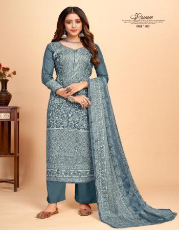 grey top - pashmina jacquard print with exclusive khatli mirror hand work ( 2.50m) | bottom - heavy pashmina spun bottom ( 3.00m) | dupatta - twill pashmina shawl printed ( 2.25m) fabric khatli mirror work work casual